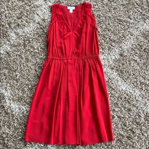 ANN TAYLOR red silk dress in 00P